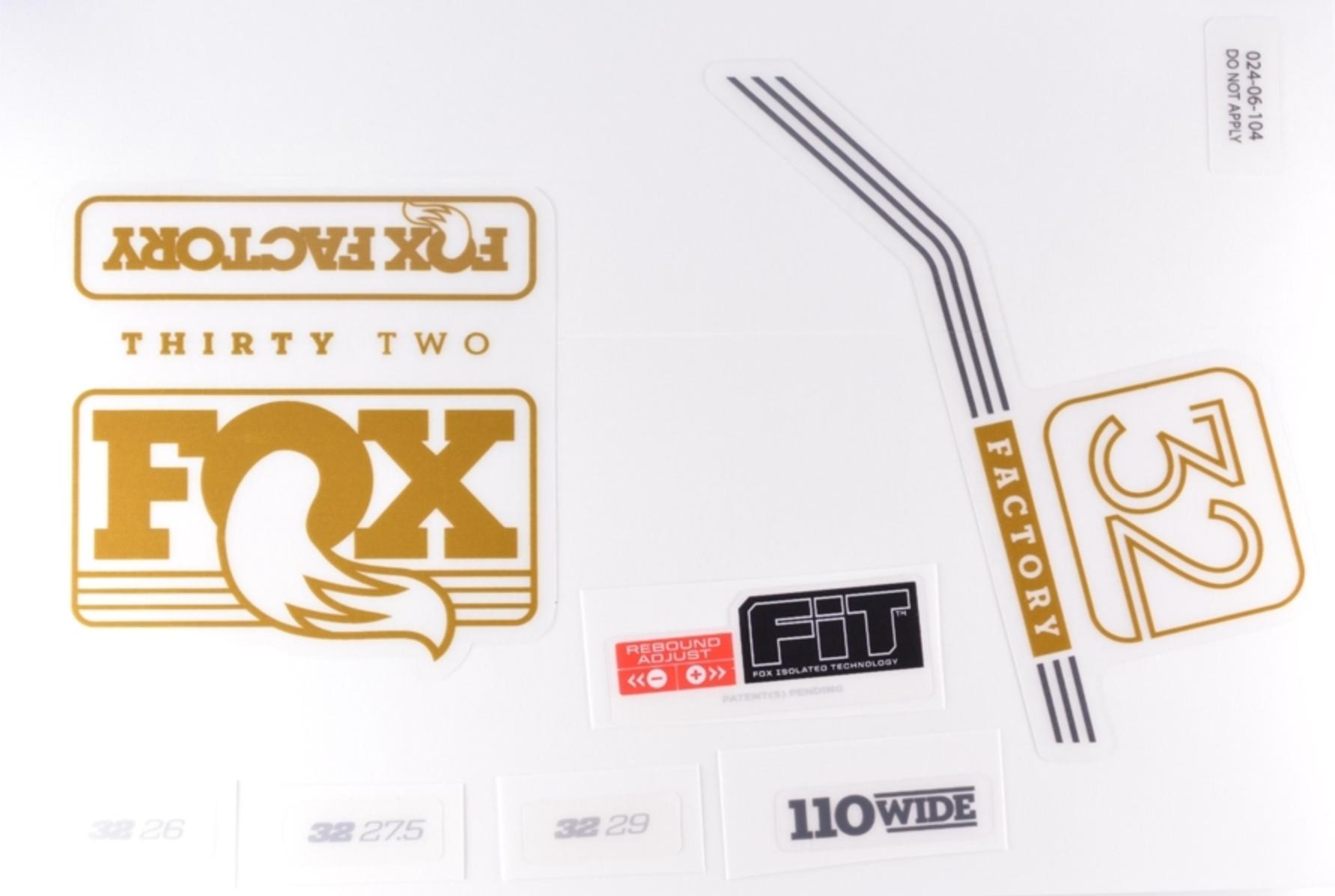 FOX สติ๊กเกอร์โช๊คหน้า Factory 2016 สีทอง
